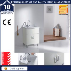 MDF White Paint Bathroom Vanity Set with Mirror Cabinet pictures & photos