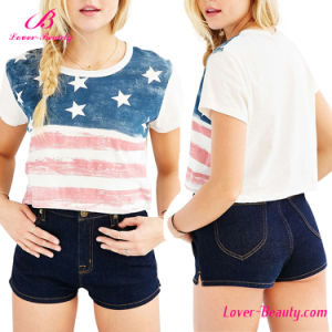 Distressed American Flag T Shirt Short Sleeve Blouse
