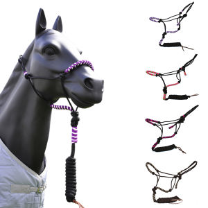 Braided PP Horse Halter with Lead Leather Strip End pictures & photos