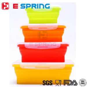 Set of 4 Collapsible Silicone Food Container Storage Box pictures & photos