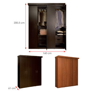 MDF Laminated Wooden Wardrobe (HX-DR346) pictures & photos