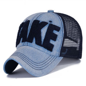 Fashion Towel Embroidered Cotton Denim Nylon Mesh Baseball Cap (YKY3456) pictures & photos