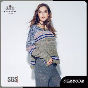 Space Dye Women Oversized Scallop Fair Isle Sweater pictures & photos
