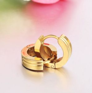 Fashion Stainless Steel Gold Plated Jewelry Hoop Earrings pictures & photos