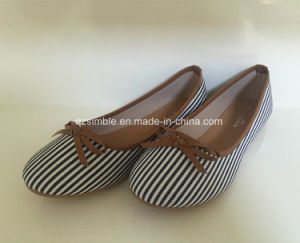 White Stripe Canvas Flat Women Shoes Ballerina pictures & photos