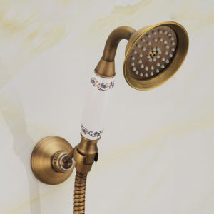 FLG Antique Finished Brass Shower Set with Ceramic Handle pictures & photos