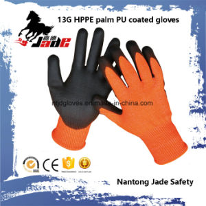 13G PU Coated Cut Resistant Safety Work Gloves Level Grade 3 and 5 pictures & photos