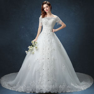 Luxury Sparking Sequins Short Sleeves Full Length Wedding Dress Gown pictures & photos