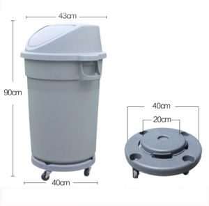 30gallon Round Plastic Trash Bin with Dolly Waste Receptacle pictures & photos