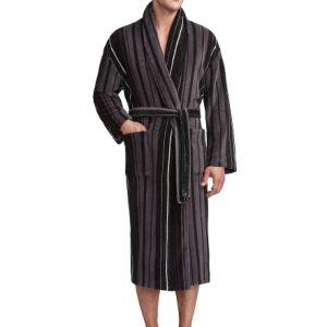 Men Coral Fleece Lounge Bathrobe Stripe Printed pictures & photos