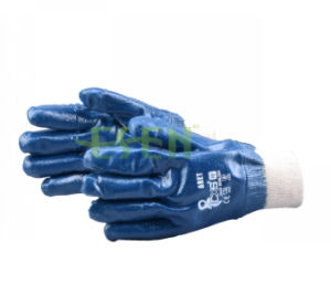 2017 New Arrived Blue Nitrile 3/4 Coated Heavy Duty PPE Safety Gloves pictures & photos