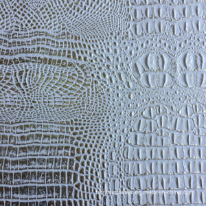 White Gold PVC Faux Crocodile Leather pictures & photos