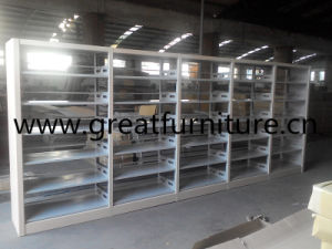Modern Library Furniture Wooden Surface Steel Book Shelf/Bookcase pictures & photos