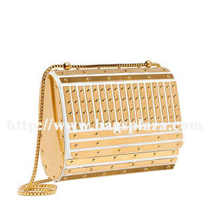 Golden Metal Bar Design Evening Bag, Chain Evening Bag