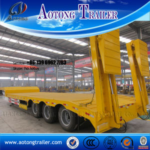 Heavy Duty 35t Double Axle Low Flatbed Semi Trailer (LAT9190TDP) pictures & photos