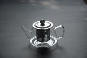 Promotional Wholesale High Borosilicate Heat Resistant Transparent Glass Teapot with Infuser and Warmer pictures & photos