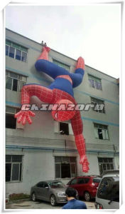 Giant Inflatable Spiderman Replica Climbing on The Wall
