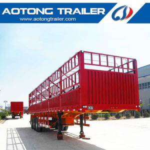 Tri-Axle 40FT Flatbed Side Wall Fence Cargo Truck Semi Trailer pictures & photos