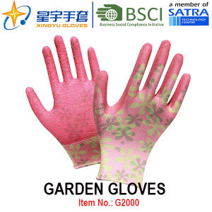 Garden Gloves, Printing Polyestershell Latex Coated Crinkle Finish Safety Work Gloves (G2000) with CE, En388, En420 pictures & photos