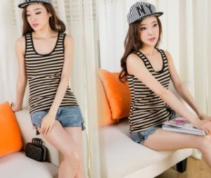 Summer Fashion Cotton Ladies Striped Tank Top pictures & photos