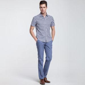 Men′s Plaid 100% Cotton Stand Neck Short Sleeve Dress Shirt pictures & photos