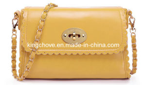 Best Selling Yellow PU with Flap Lock Fashion Ladies Designer Handbags (KCH108-2) pictures & photos