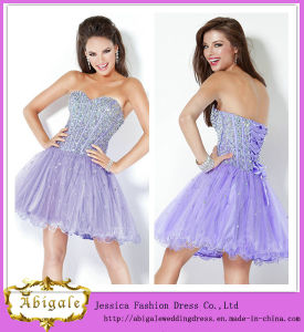New Sexy Short Organza Light Purple Beaded Sweetheart Lace up Back Bling Bling Cocktail Dress Yj0083