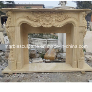 Beige Flower Surround Marble Fireplace Mantel (SY-MF047) pictures & photos