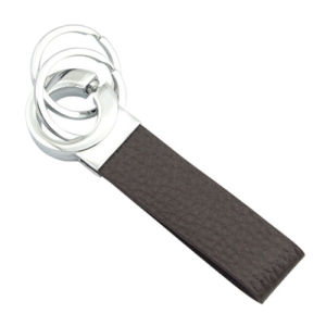 Promotional Function Metal Special Genuine Leather Keychain with Keyring (F3034)