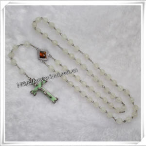 Colorful Luminous Plastic Beads Knotted Rosary with Newest Cross (IO-cr025) pictures & photos