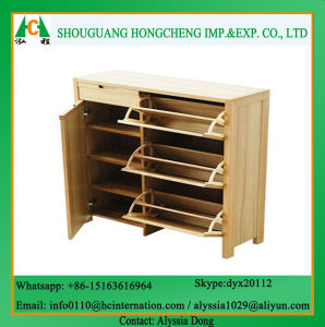 Wooden Color Modern Shoe Cabinet pictures & photos