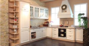 Moder Shaker Door White Vinyl Wrapped PVC Kitchen Cabinet (zc-076) pictures & photos