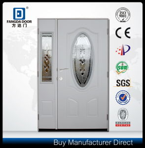 Mother and Son Steel Exterior Door with Half Decorative Glass Sidelite pictures & photos