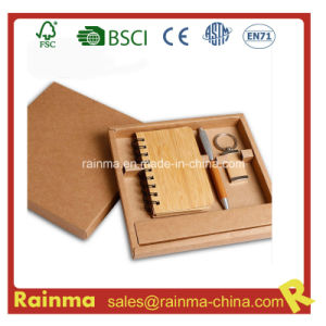 Bamboo Stationery Set with Notebook and Key Chain pictures & photos