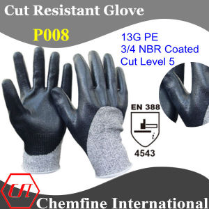 13G PE Knitted Glove with 3/4 NBR Coated/ En388: 4543 pictures & photos