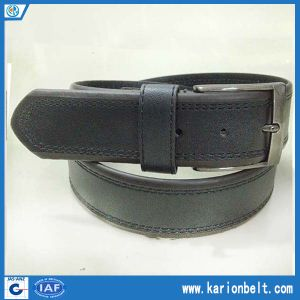 Men′s Split Leather Belt with Double Stitching on The Strap and Silver Buckle, Various Color Are Available. (40-13288)