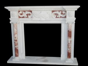 White and Red Marble Fireplace (FRP532) pictures & photos