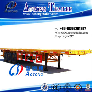 3 Axle 50t Container Flat Low Bed Semi Trailer (suitable for 48 feet container) (LAT9371TJZG) pictures & photos