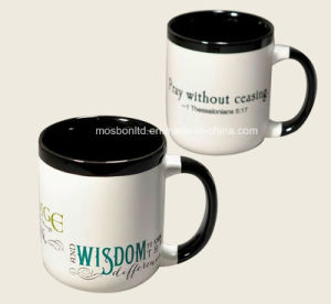 Customized Matt Black and White Ceramic Coffee Mug with Custom Logo pictures & photos