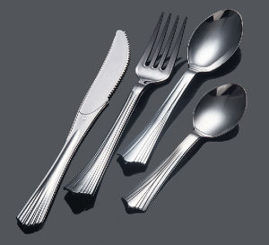Plastic Fork Spoon Knife PS Silver Cutlery pictures & photos