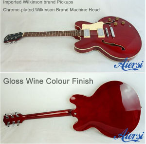 Wine Colour 335 Semi Hollow Archtop Body Electric Jazz Guitar pictures & photos
