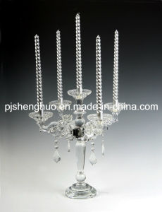 Clear Glass Long Stem Candle Holder