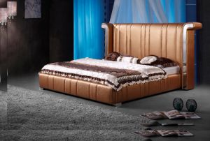 Simple Antique Leather King Size Bed with Nightstands (TB-008) pictures & photos