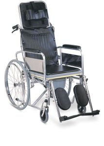 Steel Folding Reclining High Back Commode Wheelchair (SC-CW13(S)) pictures & photos