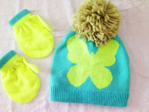 Kid Jarquard Butterfly Knitted Hat and Glove Set