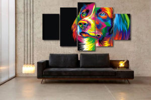 HD Printed Colorful Dog Painting Canvas Print Room Decor Print Poster Picture Canvas Mc-067 pictures & photos