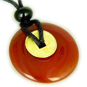 Lucky Coin Necklace in Carnelian Gemstone Donut (NJAD34)