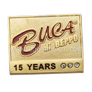 Years of Service Brass Plating Metal Pin with Stone pictures & photos