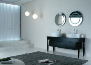 Black Style/Double Sink Bathroom Cabinet/Vanity with Lamp (KA863)