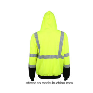 100% Polyester Fleece Men Long Sleeve Safety Hoodie pictures & photos